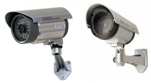 The Real Surveillance Camera next to the Decoy - can you tell which is which?
