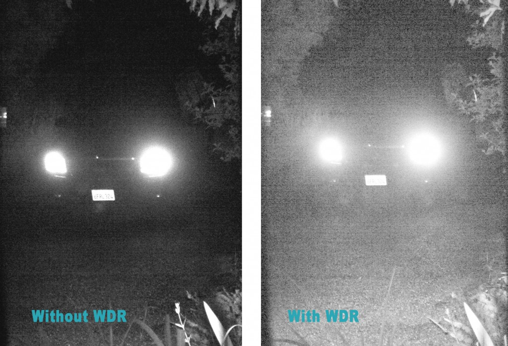 WDR Night Comparison with Headlights.