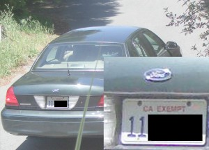 """Captain Israel arrives, click to enlarge, you can even read the """"CA EXEMPT"""" on the License plate."""