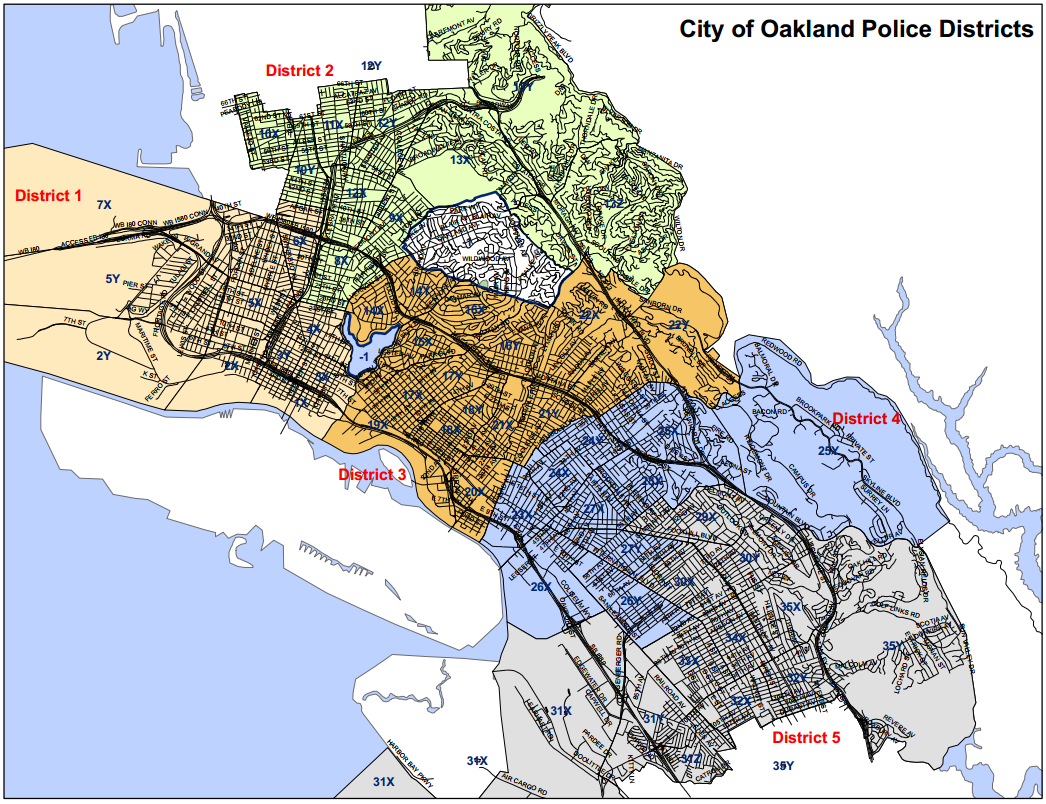 City of Oakland Police Districts